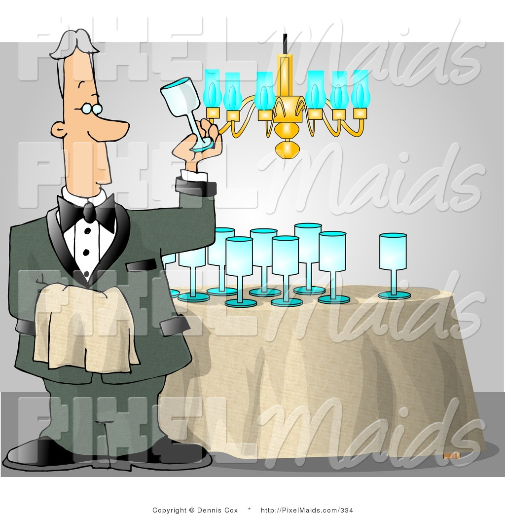 Wine butler and glass clipart jpg Clipart of a Male Butler Man Cleaning and Polishing Wine ... jpg