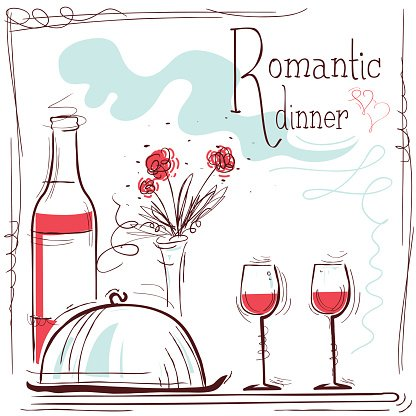 Wine dinner sign clipart picture freeuse stock Romantic Dinner Illustration With Wine and Food premium ... picture freeuse stock