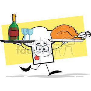 Wine dinner sign clipart clip royalty free stock Cartoon Chefs Hat Character Running With Tray Of Wine And Plate With  Chicken clipart. Royalty-free clipart # 379375 clip royalty free stock