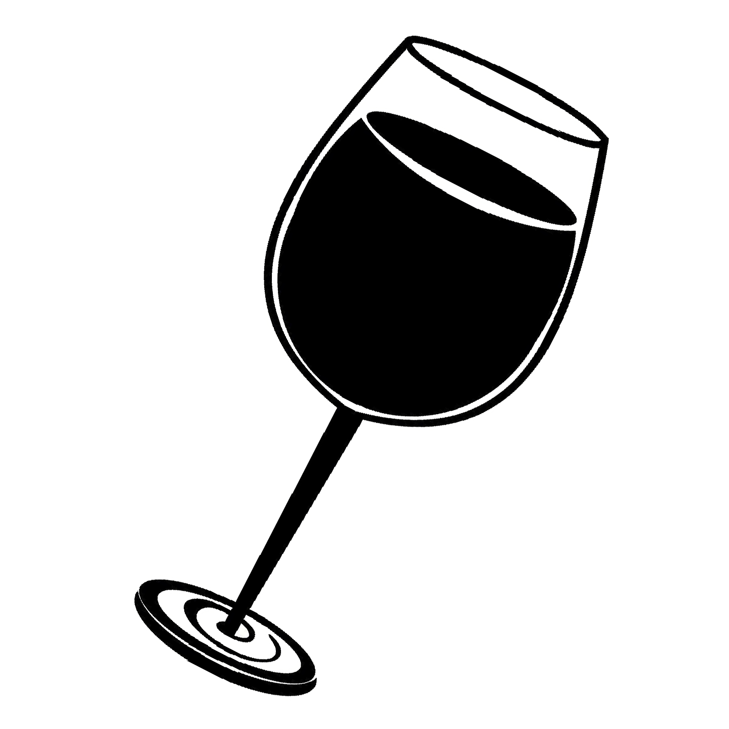 Wine glass black and white clipart image freeuse Black And White Wine Glass Png & Free Black And White Wine ... image freeuse
