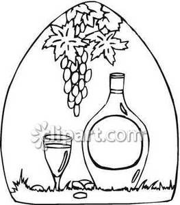 Wine jug clipart banner freeuse Black and White Illustration of Wine Jug and Glass - Royalty ... banner freeuse
