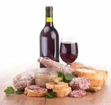 Wine meat and cheese clipart image royalty free library composition with wine,meat spread and sausages | CLIP ART ... image royalty free library