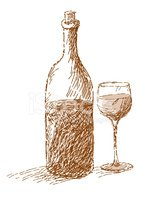 Wine sepia clipart picture free Wine Bottle and Glass Sepia Sketch stock vectors - Clipart.me picture free
