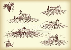Wine sepia clipart clipart free library Winery Items With The Vineyards on Sepia stock vectors ... clipart free library