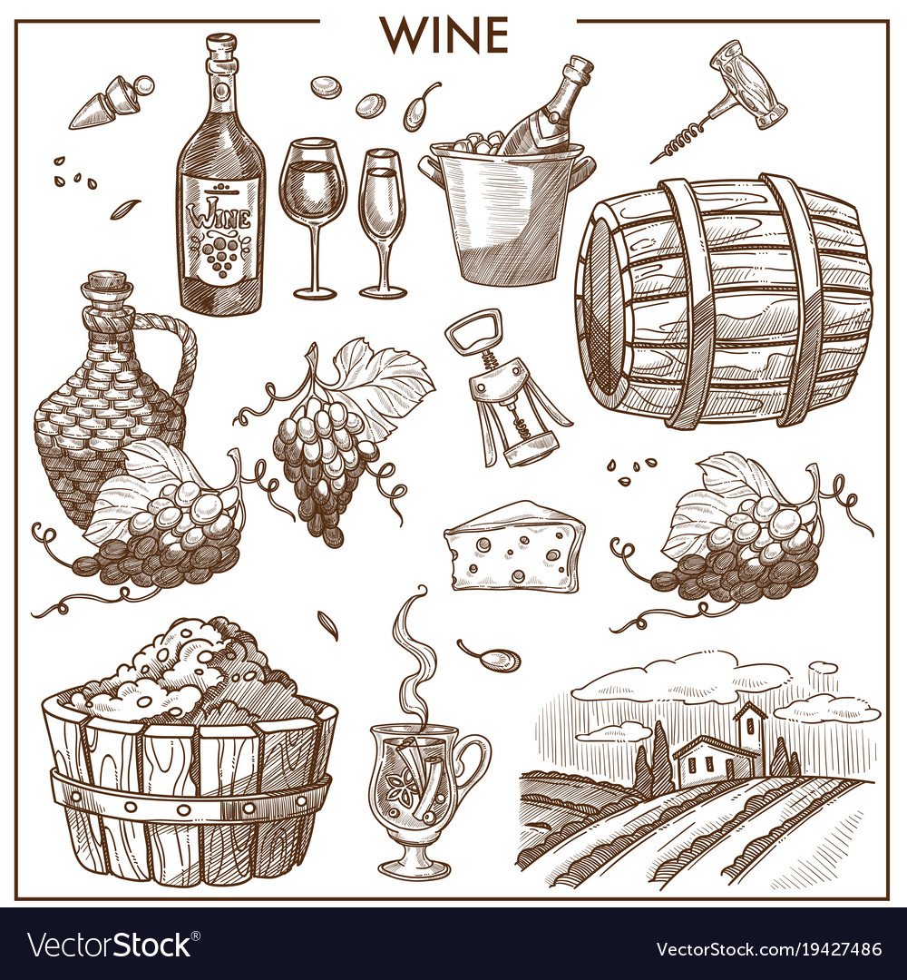 Wine sepia clipart clipart freeuse download Wine promotional poster in sepia colors with clipart freeuse download