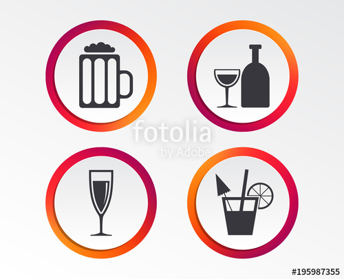 Wine signs clipart free png black and white Alcoholic drinks icons. Champagne sparkling wine and beer ... png black and white