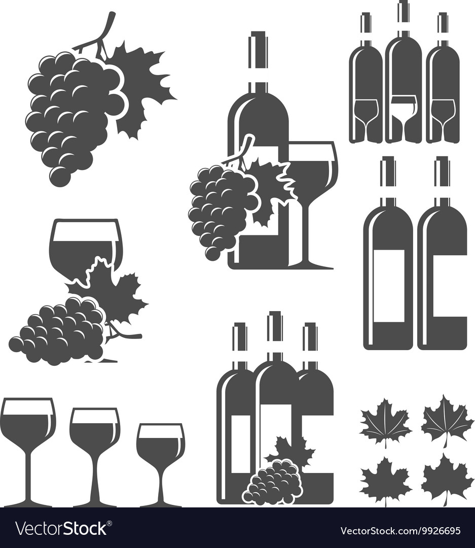 Wine signs clipart free vector library download Set of wine signs badges and labels vector library download