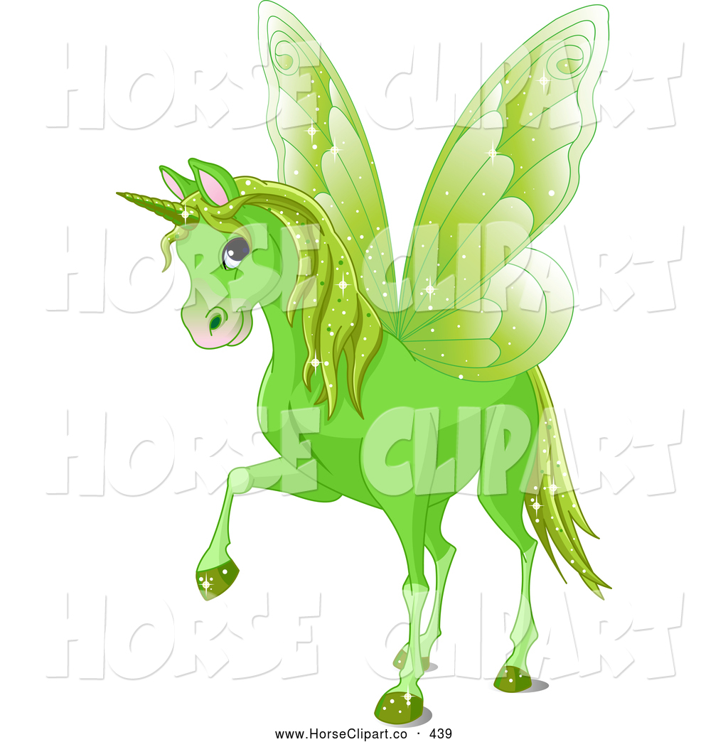 Winged horned lion clipart image royalty free download Clip Art of a Cute Magical Green Winged Unicorn by Pushkin ... image royalty free download