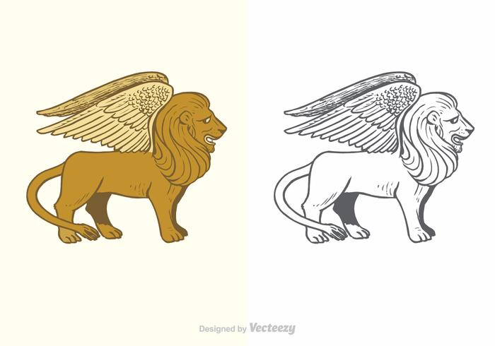 Winged lion clipart sit clip freeuse stock Winged Lion Free Vector Art - (6,033 Free Downloads) clip freeuse stock