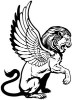 Winged lion clipart sit clip black and white stock Sitting Winged Lion Black White stock vectors - Clipart.me clip black and white stock