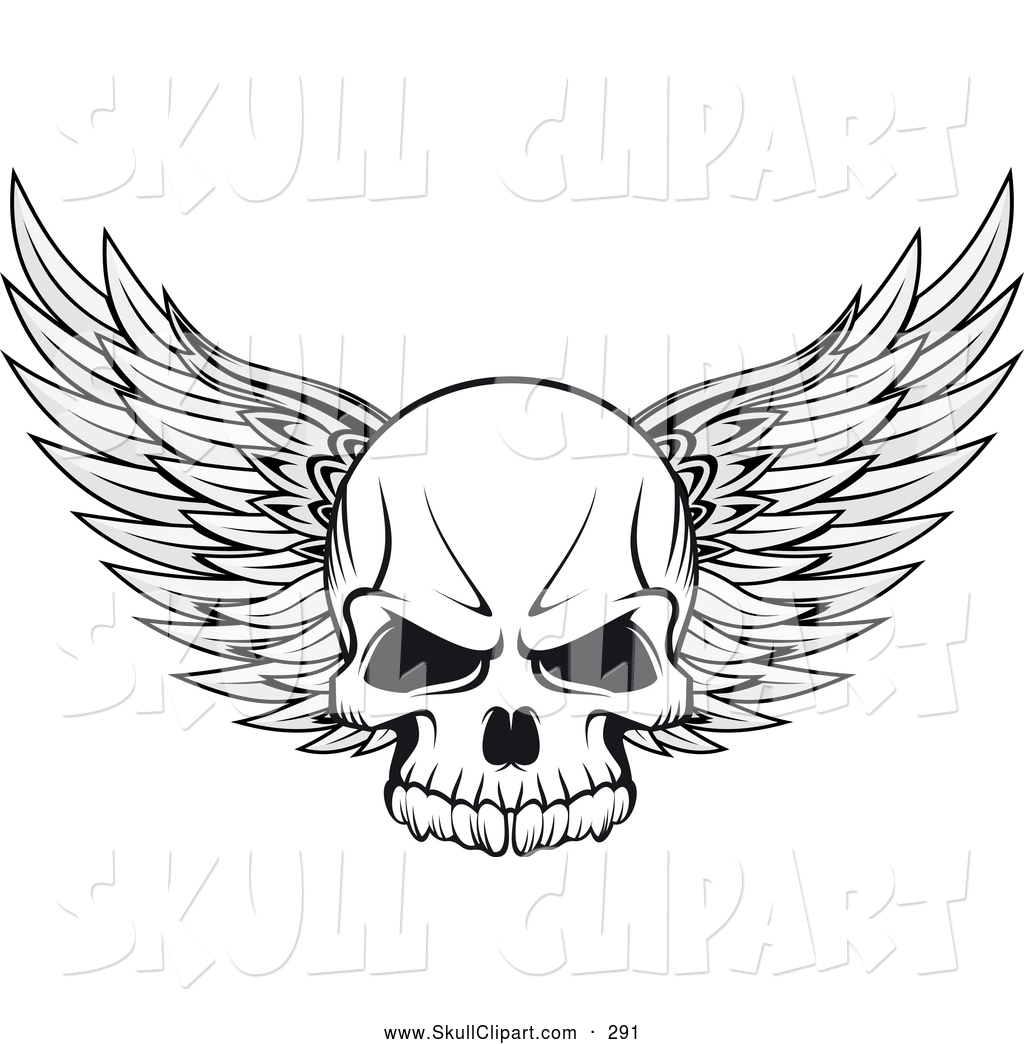 Winged skull clipart clipart library Vector Clip Art of a Winged Skull Outline by Vector ... clipart library