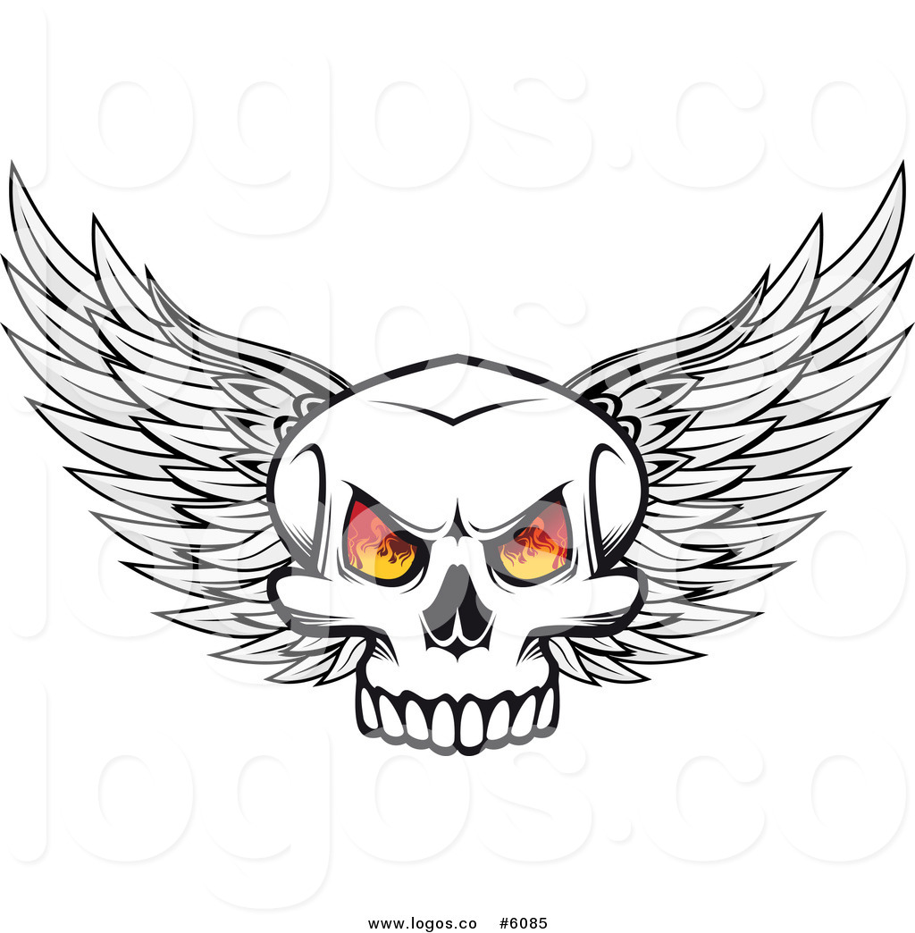 Winged skull clipart vector library library Royalty Free Vector Logo of a Winged Skull with Flaming Eyes ... vector library library