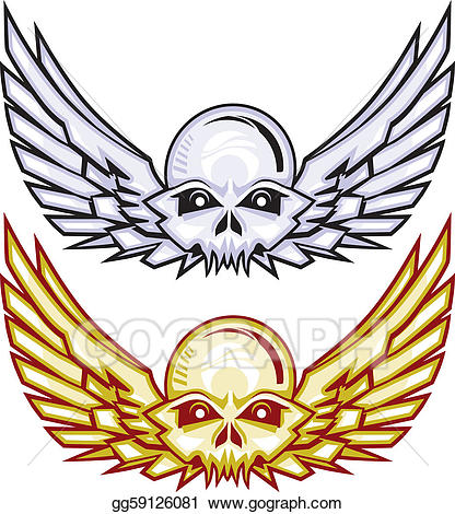Winged skull clipart clip download Vector Illustration - Winged raider skulls. EPS Clipart ... clip download
