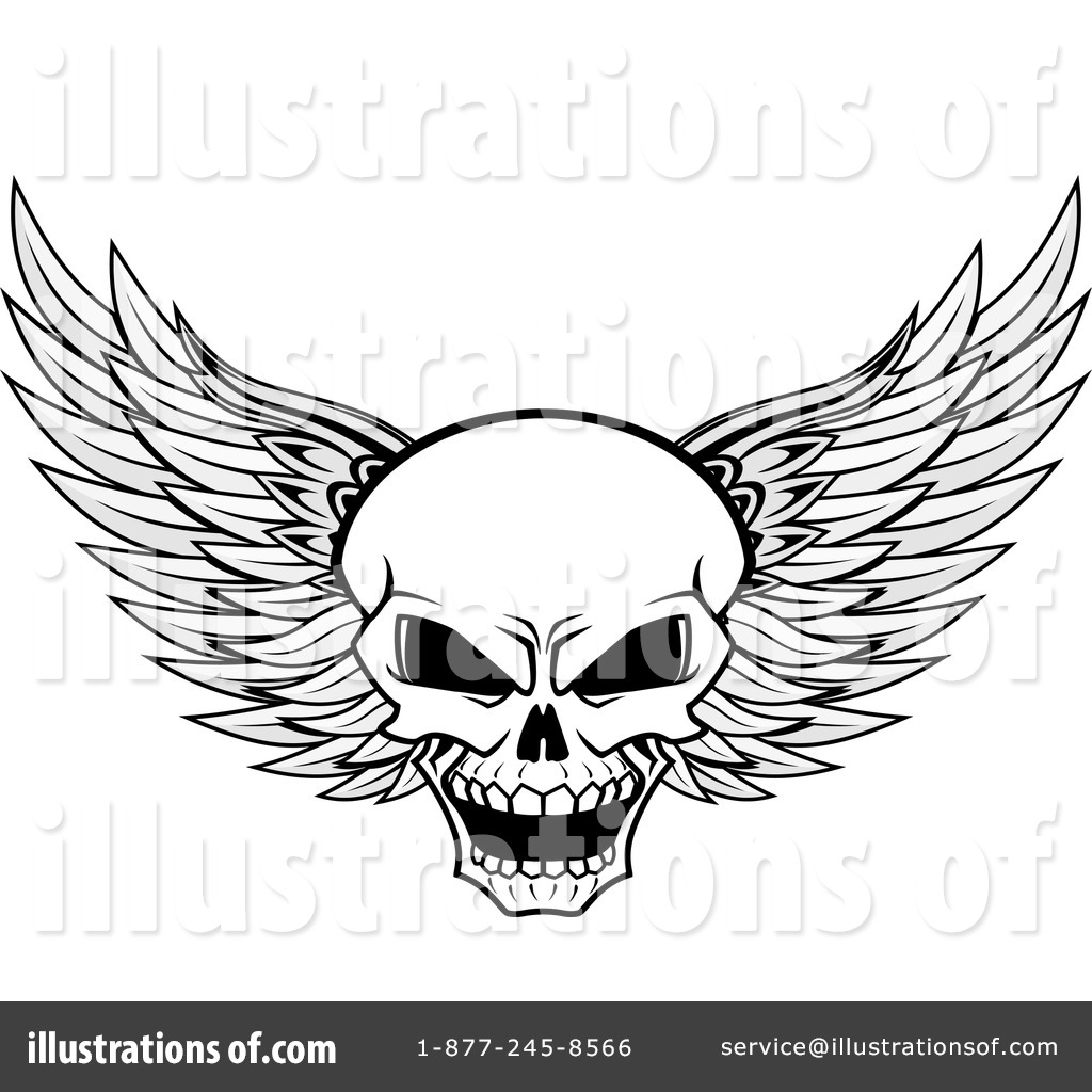 Winged skull clipart jpg library download Winged Skull Clipart #1101879 - Illustration by Vector ... jpg library download