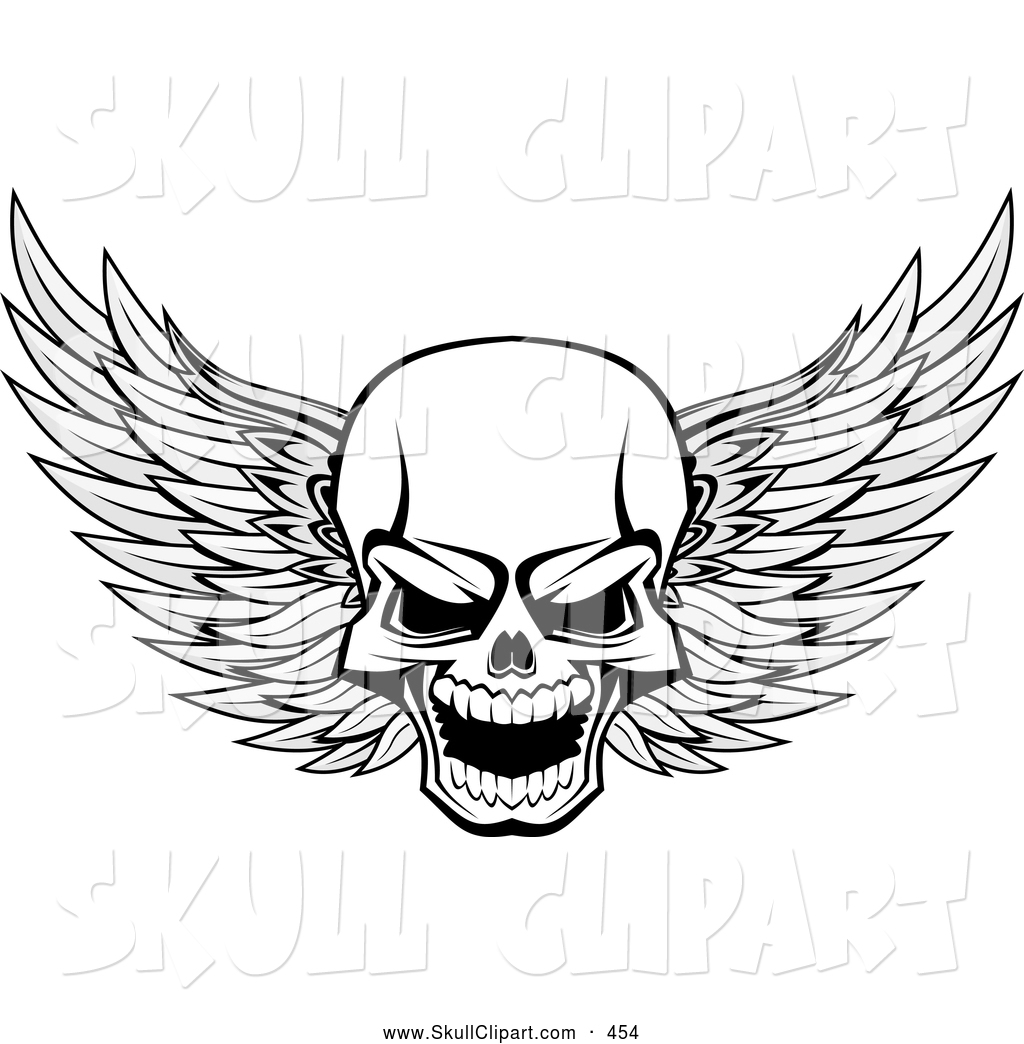 Winged skull clipart image free Vector Clip Art of a Frightening Evil Winged Skull Black and ... image free