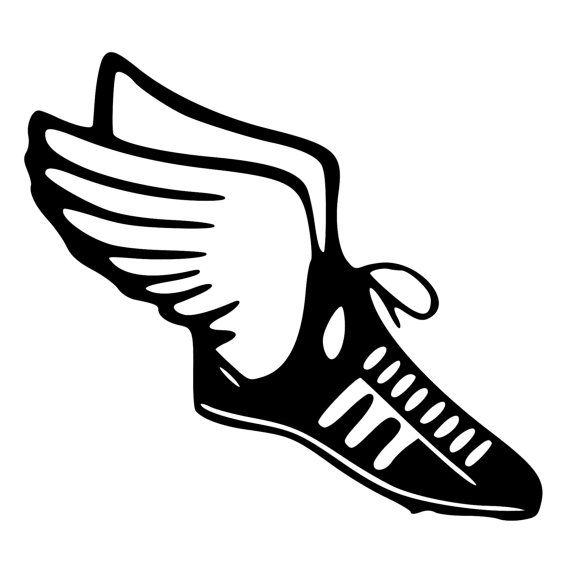 Winged track shoe clipart banner royalty free download Track & Field Runner Shoe with wings by BeeMountainGraphics ... banner royalty free download