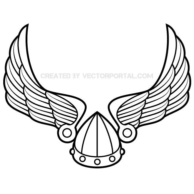 Winged viking helmet clipart png library WINGS WITH VIKING HELMET VECTOR - Free vector image in AI ... png library