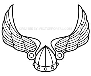 Winged viking helmet clipart jpg black and white stock Winged Viking Helmet Vector Art jpg black and white stock