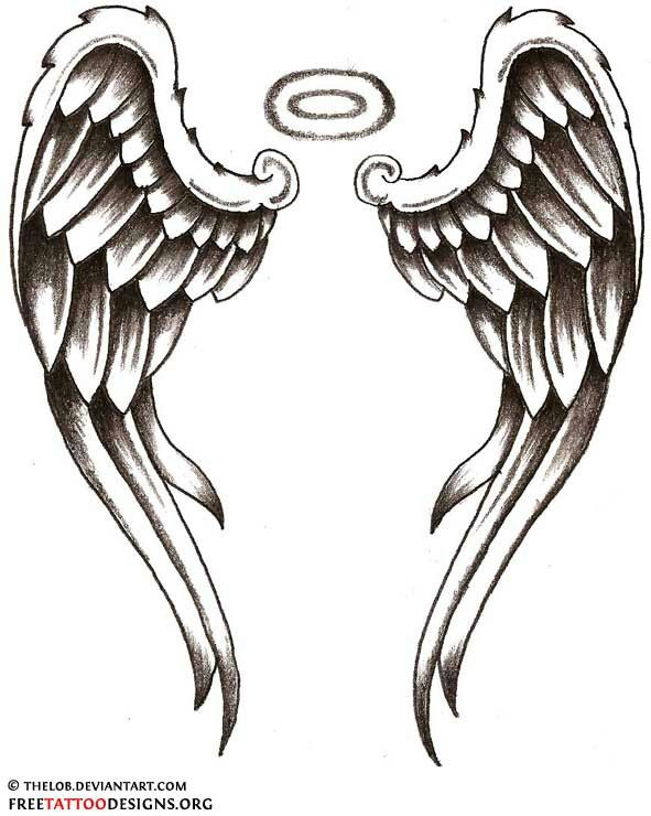 Wings and halo with watercolor clipart tattoo design clip Angel wings drawing   Tattoos&Piercings   Wing tattoo ... clip