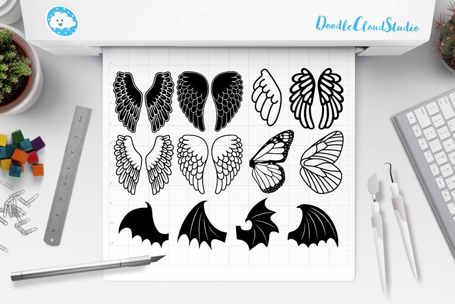 Wings clipart 220 png free download Angel Wings SVG, Bat Wings SVG. ~ Illustrations ~ Creative ... png free download