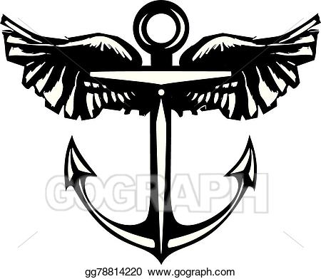 Wings clipart 220 picture transparent EPS Illustration - Winged anchor. Vector Clipart gg78814220 ... picture transparent