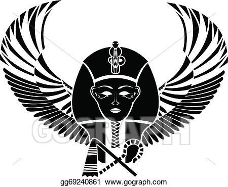 Wings clipart vector egyptian banner freeuse EPS Vector - Egyptian pharaon with wings. Stock Clipart ... banner freeuse