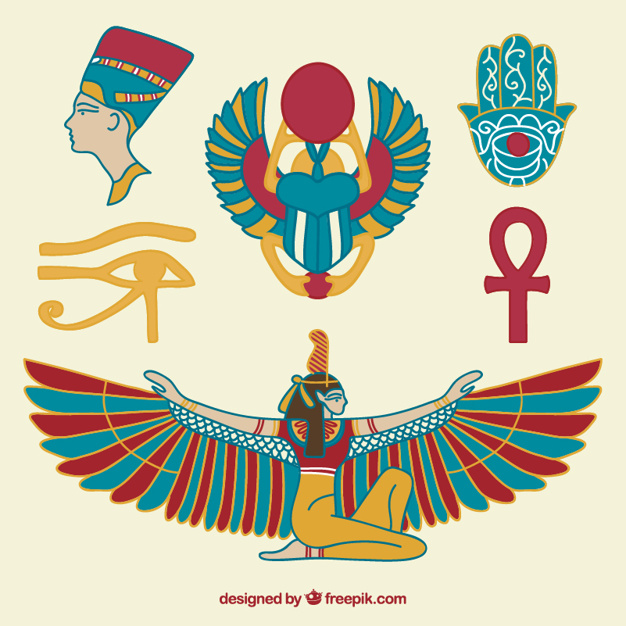 Wings clipart vector egyptian jpg black and white Hand drawn egyptian culture Vector | Premium Download jpg black and white
