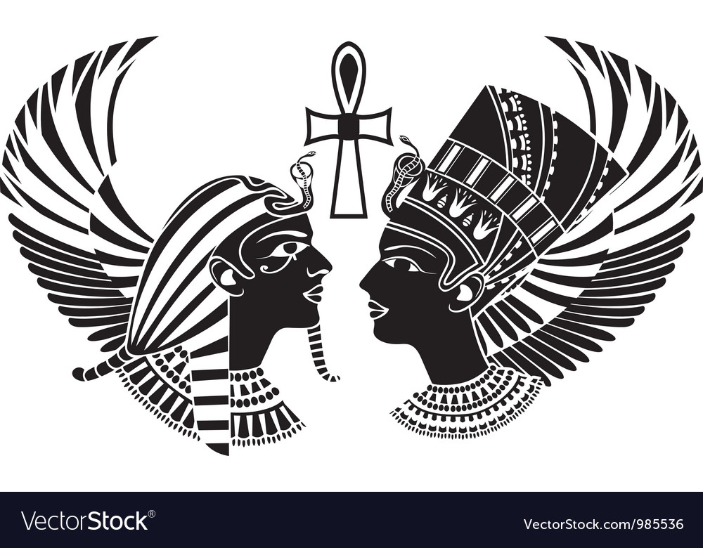 Wings clipart vector egyptian image freeuse download Ancient egypt king and qeen with wings image freeuse download