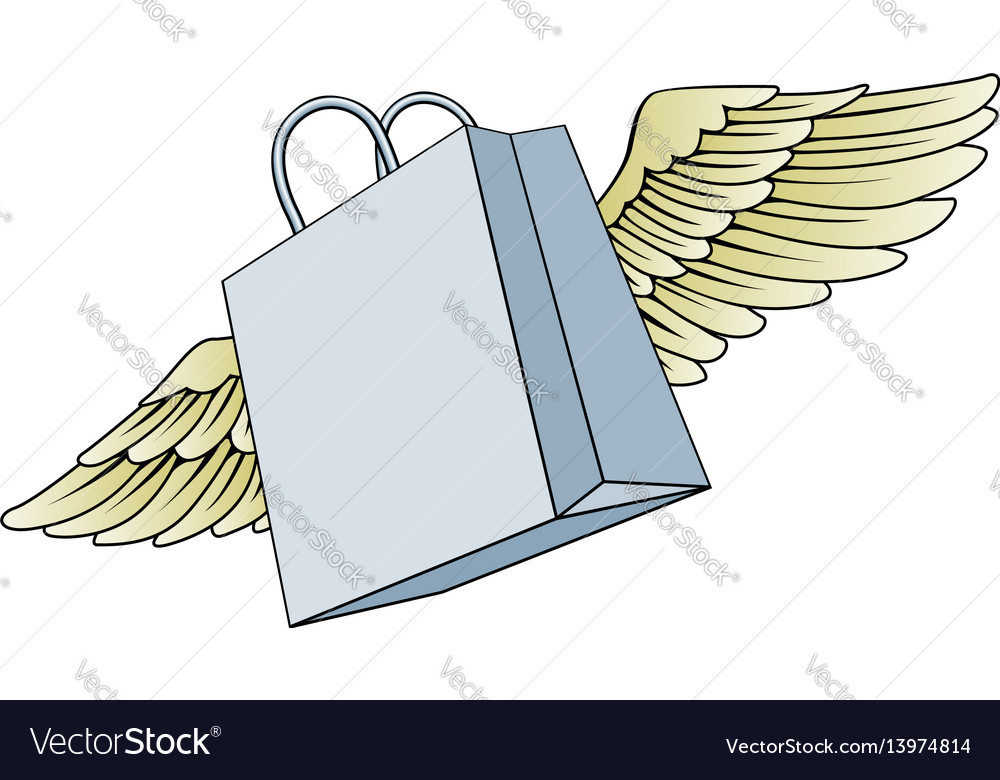 Wings resale shope image clipart banner royalty free Shopping bag flying with wings concept banner royalty free