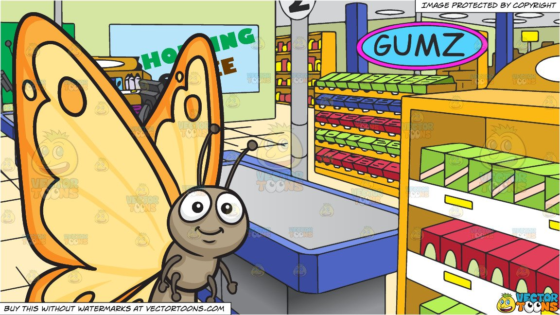 Wings surrounding clipart picture library library A Pretty Butterfly With Yellow Orange Wings and The Checkout Counter At A  Grocery Store Background picture library library