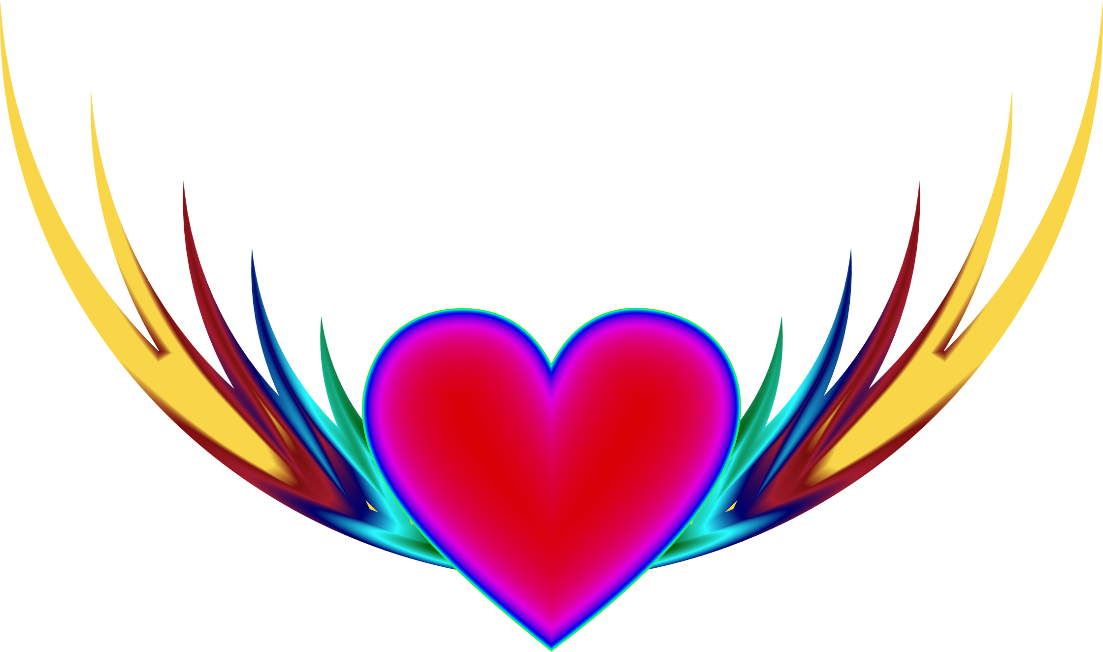 Wings with heart clipart vector download Clipart - Flying Heart 3 vector download