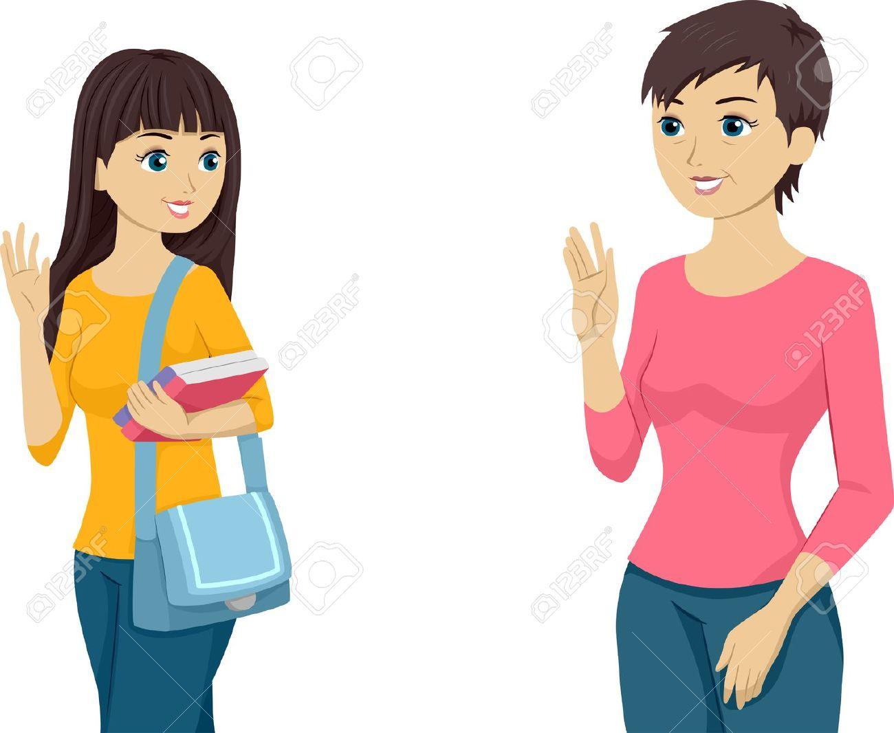 Winken zum abschied clipart clip art free stock Illustration, Die Eine Teenager Mädchen Winkt Uns Zu Ihre Mutter ... clip art free stock