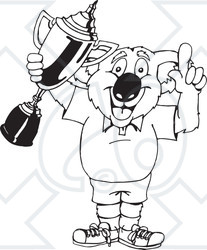 Winners clipart black and white image black and white library Clipart Black And White Outlined Winner Koala Holding A ... image black and white library