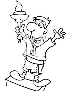Winners clipart black and white vector free A Cartoon of a Man Winning a Medal and Holding a Torch ... vector free