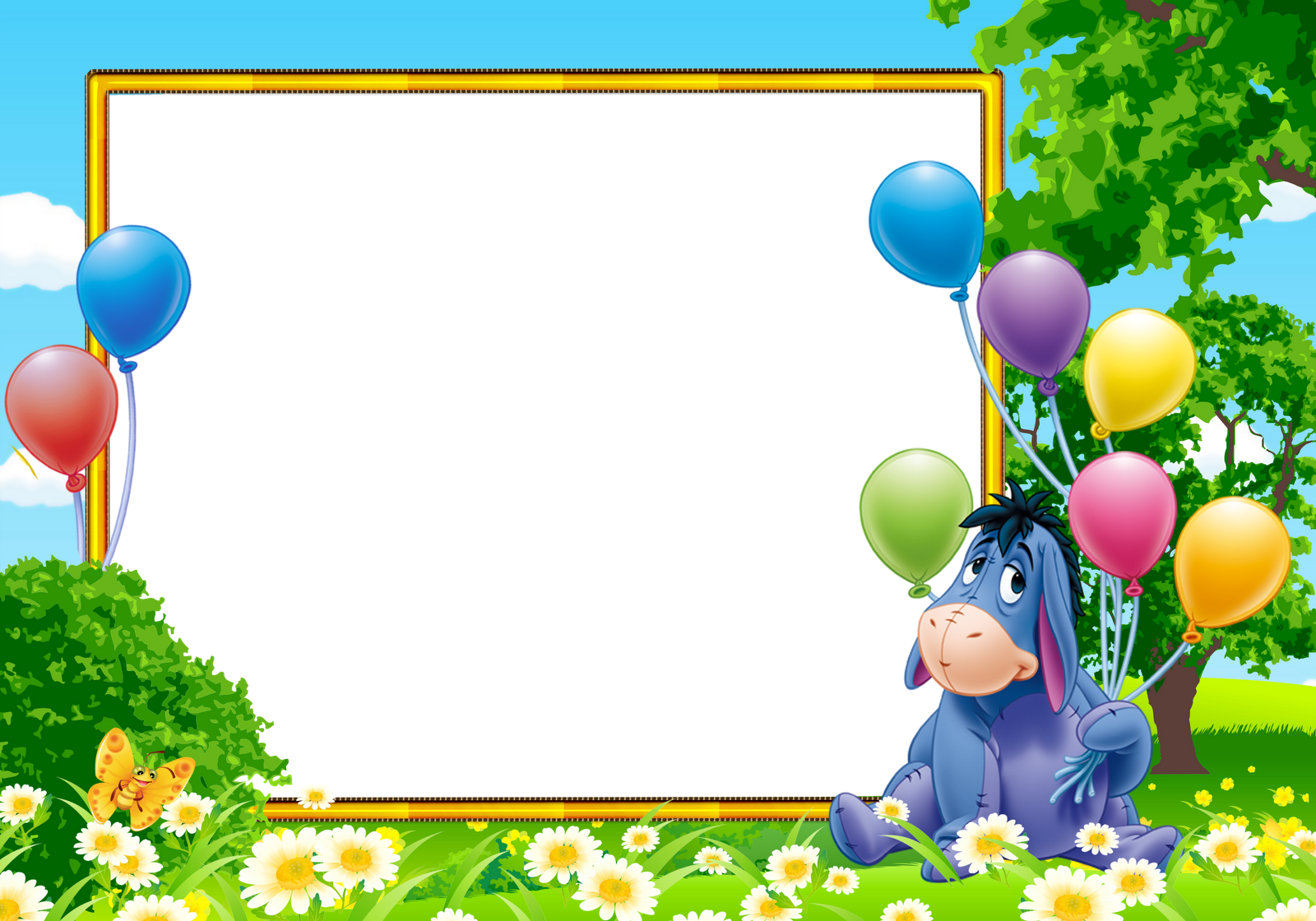 Winnie the pooh border clipart free Eeyore from Winnie the Pooh Kids Transparent Photo Frame ... free