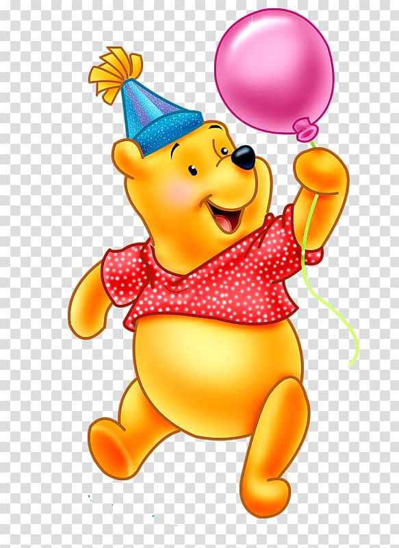 Winnie the pooh clipart birthday graphic black and white stock Winnie The Pooh holding pink balloon, Winnie-the-Pooh Eeyore ... graphic black and white stock