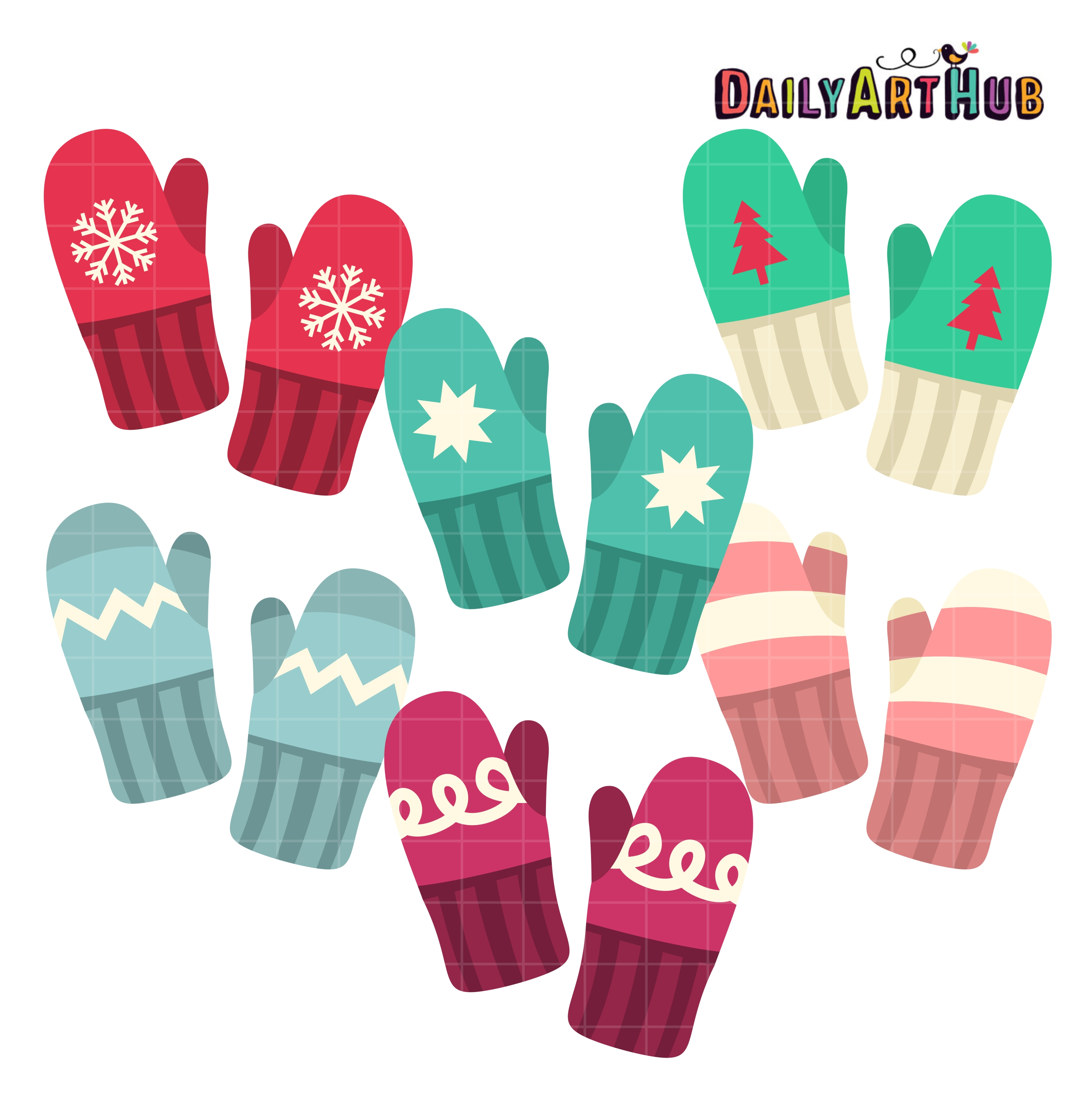 Winte mittens clipart clip art freeuse download Winter Mittens Clip Art Set clip art freeuse download