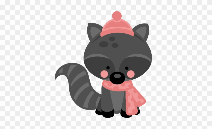 Winter animal transparent clipart svg free library Girl Winter Raccoon Svg Scrapbook Cut File Cute Clipart ... svg free library