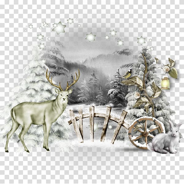 Winter animal transparent clipart image library download Reindeer Winter Christmas Illustration, Cartoon white snow ... image library download