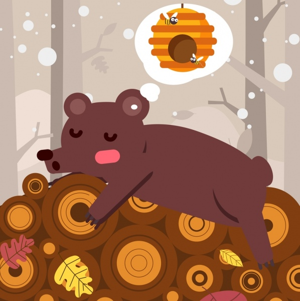 Winter bear clipart honeycomb transparent stock Dreaming background sleeping bear honeycomb thought bubble ... transparent stock