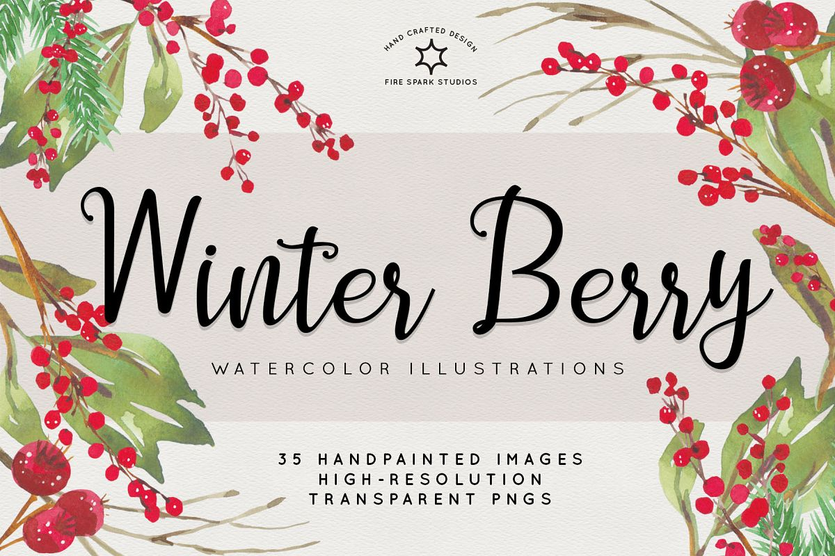 Winter berries watercolor elements clipart png free clip transparent stock Winter Berry Watercolor Illustrations clip transparent stock