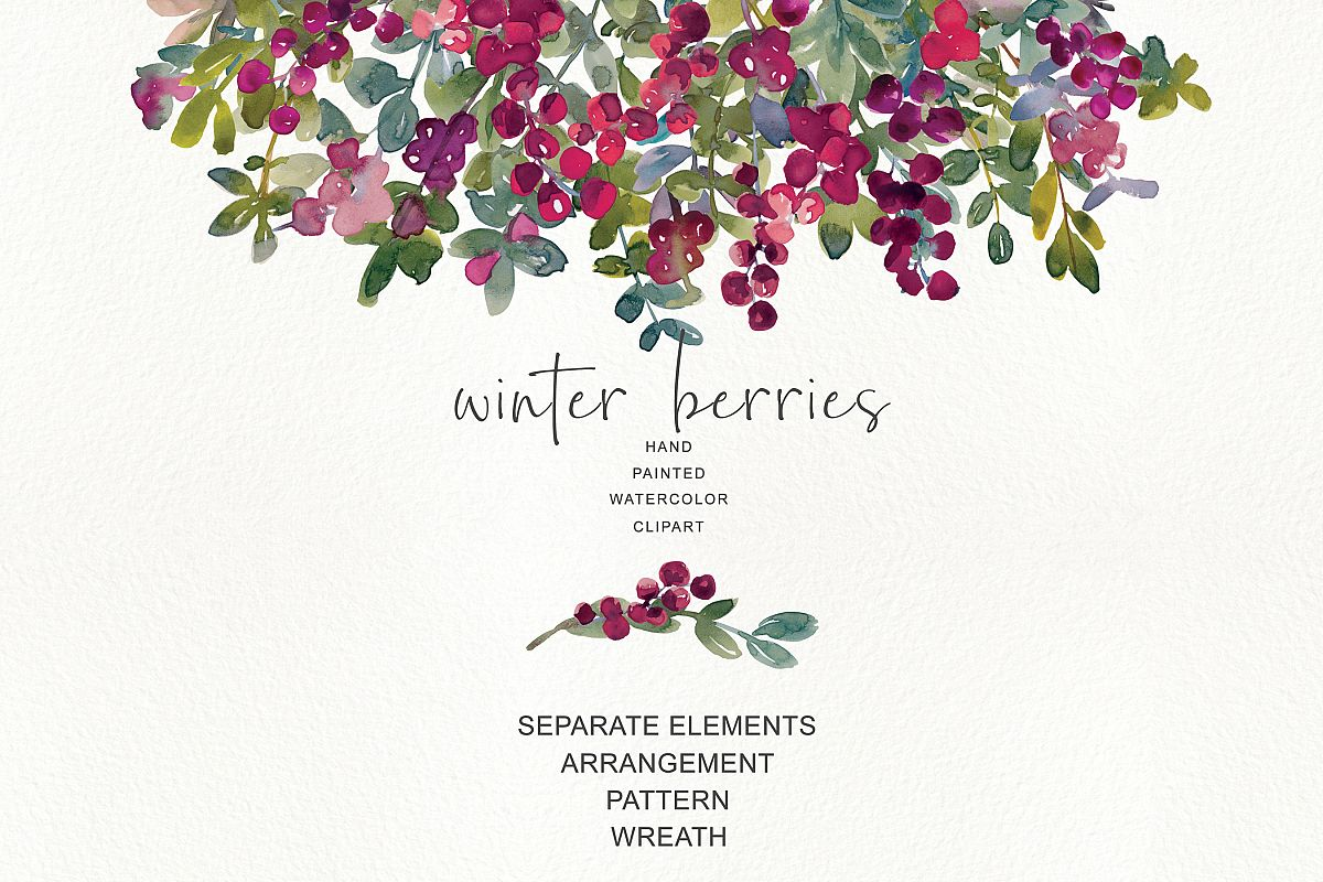 Winter berries watercolor elements clipart png free svg black and white stock Watercolor Winter Berry Clipart svg black and white stock