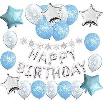 Winter birthday decorations clipart graphic freeuse Amazon.com: Snowflake Winter Wonderland Birthday Party ... graphic freeuse