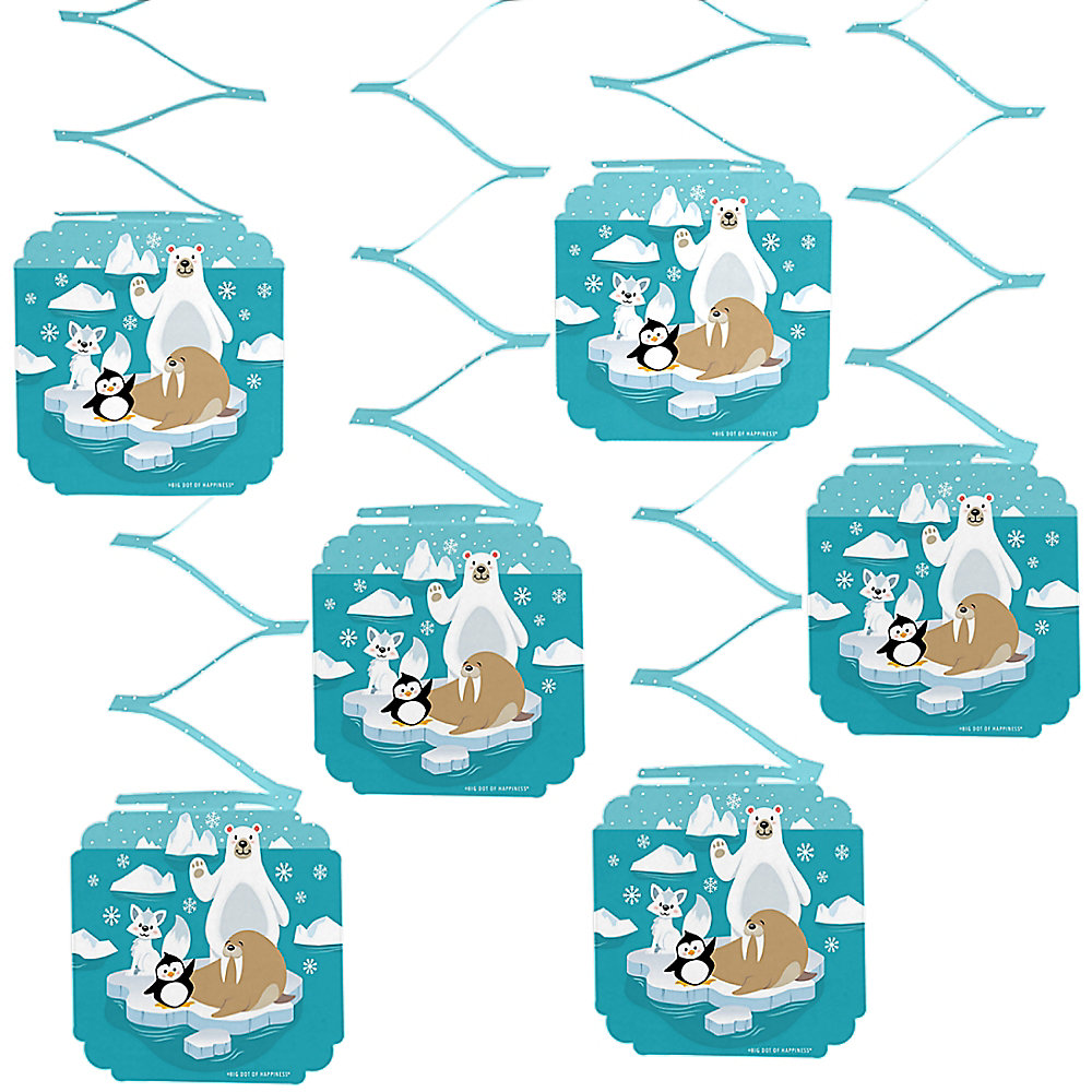 Winter birthday decorations clipart clipart black and white download Arctic Polar Animals - Winter Baby Shower or Birthday Party Hanging  Decorations - 6 Count clipart black and white download