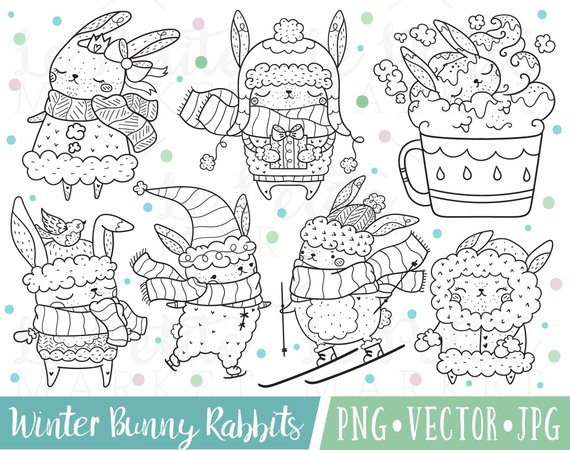 Winter bunny clipart svg transparent stock Cute Rabbit Clipart Images, Winter Bunny Clipart, Holiday ... svg transparent stock