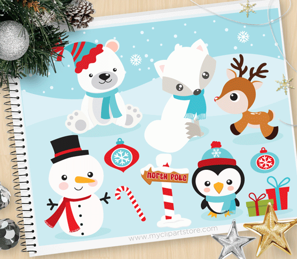 Winter candyland clipart banner black and white library Christmas Animals Clipart banner black and white library