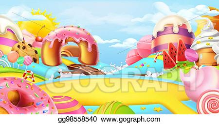Winter candyland clipart clipart free library Vector Clipart - Glade in a candy land. sweet landscape, 3d ... clipart free library