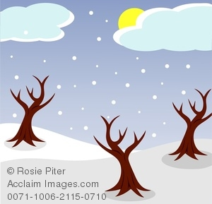 Winter clipart image picture Three Bare Trees on a Snowy Landscape In Winter Clipart Image picture