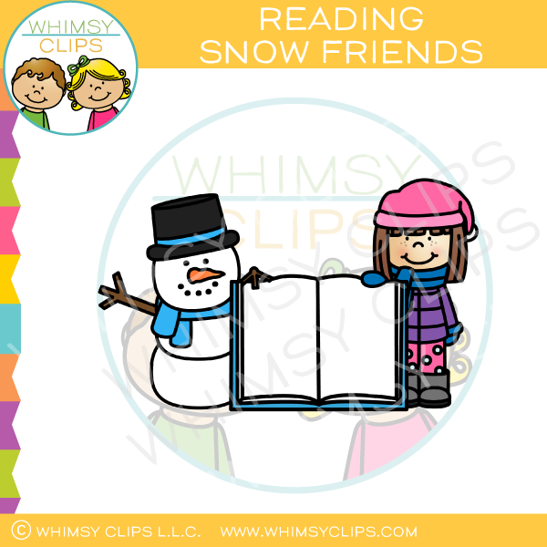 Winter clipart kids reading clip freeuse download Winter kids clip art , Images & Illustrations | Whimsy Clips ® clip freeuse download