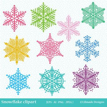 Winter clipart snow flakes picture transparent library Snowflake clipart, winter clipart, holiday clipart picture transparent library